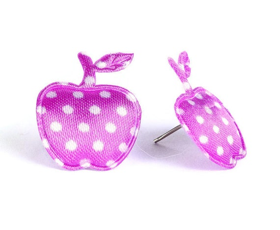 Purple polka dots apple applique satin hypoallergenic studs earrings (400)