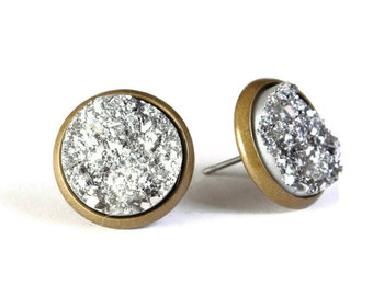 Silver textured stud earrings - Faux Druzy earrings - Textured earrings - Post earrings - Nickel lead free (772)