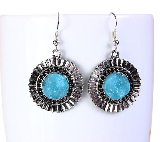 Antique silver blue faux dusy dangle earrings - textured earrings - Faux Druzy earrings - lead free nickel free earring (799)