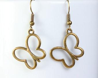 Butterfly dangle antique brass earrings lead free nickel free (480)