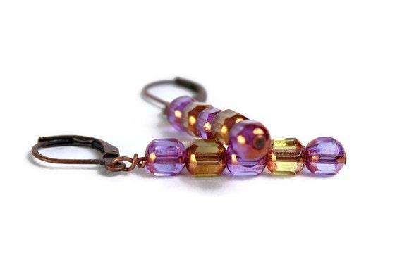 Dangle earrings Alexandrite purple travertine yellow lantern glass (472)