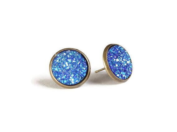 Blue textured stud earrings - Faux Druzy earrings - Textured earrings - Post earrings - Nickel free - lead free - cadmium free (832)