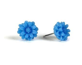 Capri blue chrysanthemum flower stud earrings (297)