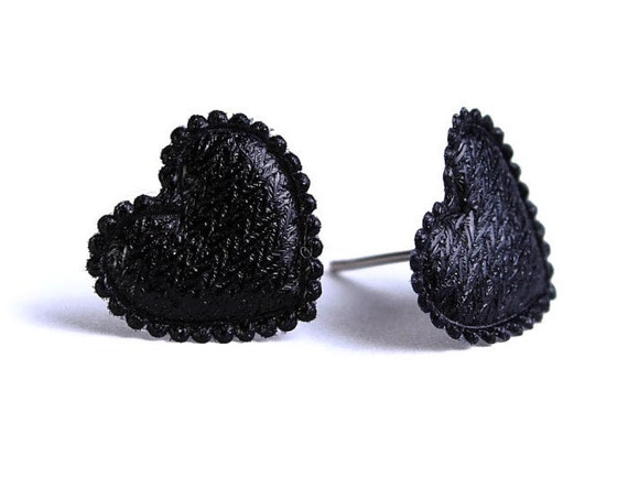 Black heart fabric surgical steel hypoallergenic stud earrings READY to ship (335)