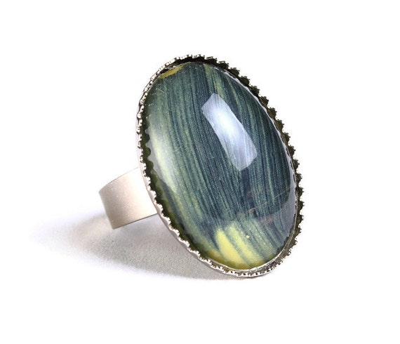 Handpainted black yellow adjustable ring silver cocktail ring (694-6)