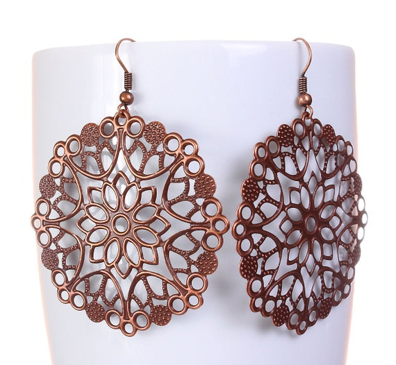 Antique copper flower drop dangle earrings (580)