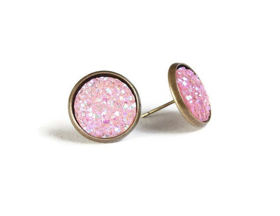 Pink textured stud earrings - Faux Druzy earrings - Textured earrings - Post earrings - Nickel free - lead free - cadmium free (834)