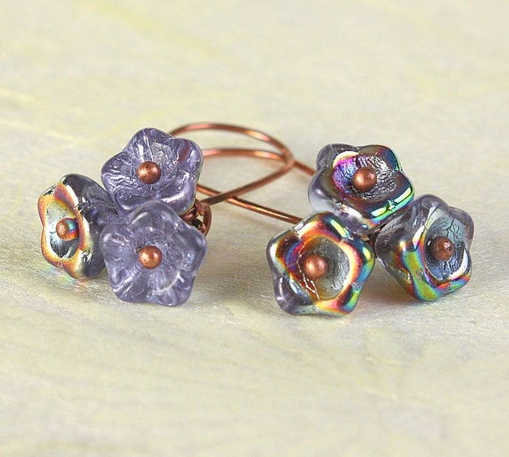 Handmade Vitrail Alexandrite blue Czech bell flower floral dangle earrings READY to ship (371)