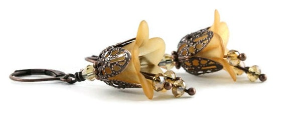 Orange lily flower and antique copper leverback earrings (160)