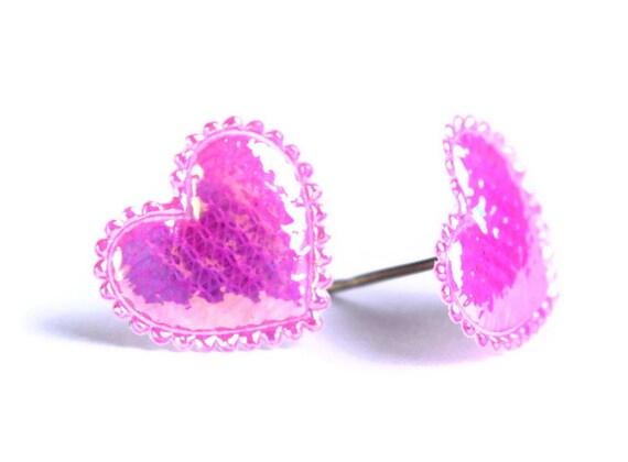 Hot pink shiny iridescent heart fabric hypoallergenic stud earrings (455)