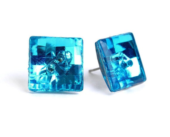 Vintage Earrings turquoise blue disco mosaic square button studs posts READY to ship (478)
