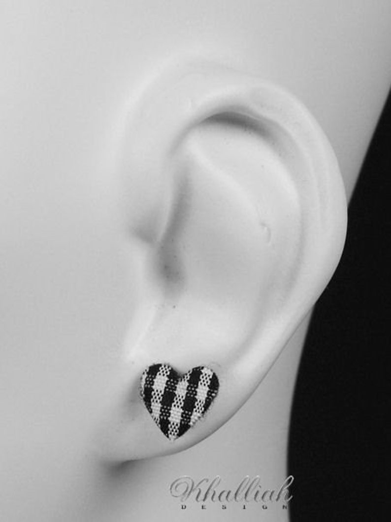 347 Baby blue plaid heart fabric applique hypoallergenic stud earrings READY to ship