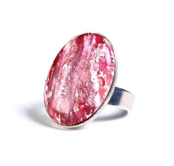 Pink white silver adjustable ring cocktail ring (694-3)