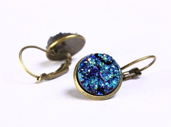 Antique brass turquoise blue green dangle drop earrings - Faux Druzy earring - Lead free nickel free earrings (710) earrings