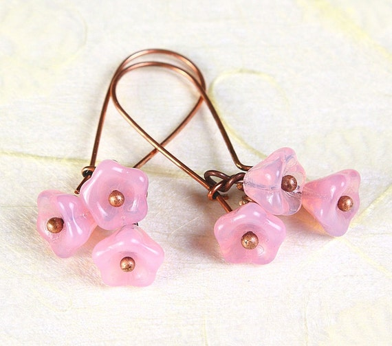 Handmade Milky pink Czech bell flower floral copper dangle earrings (373)