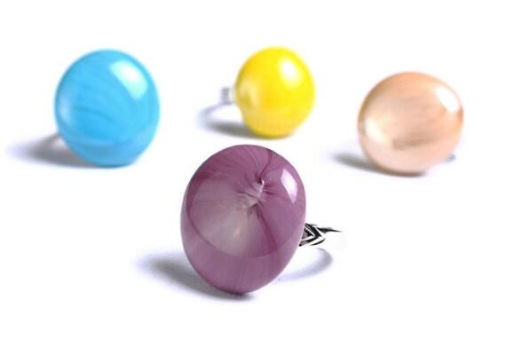Purple violet mauve lilac glass adjustable silver ring OOAK (670)