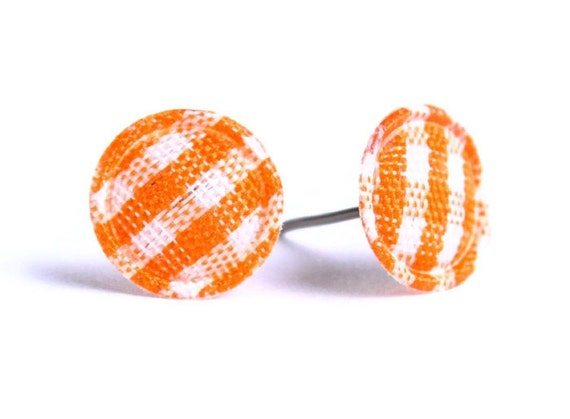 Orange plaid round dot fabric applique hypoallergenic stud earrings READY to ship (333)