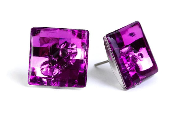 Purple violet vintage disco mosaic square button studs posts earrings READY to ship (469)