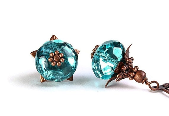 Metallic blue green ice Czech glass rondelle and antique copper leverback earrings (242)