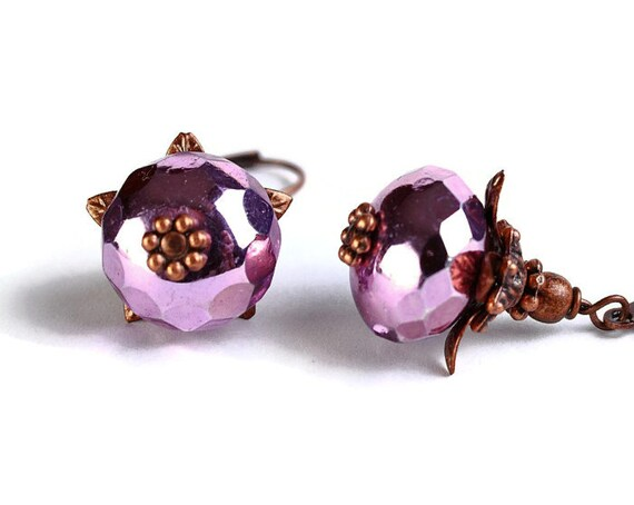 Metallic violet pink ice Czech glass rondelle antique copper earrings READY to ship (392)