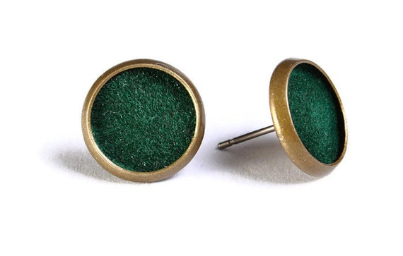 Sale Clearance 20% OFF - Green velvet hypoallergenic stud earrings (487)
