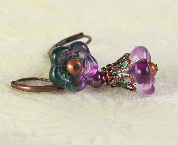 Mauve green glass trumpet bell flower and antique copper earrings (417)