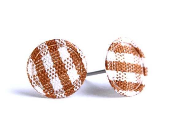 Brown chocolate and white plaid round dot padded fabric stud earrings READY to ship (456)