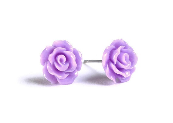 Petite purple violet mauve rose rosebud hypoallergenic stud earrings (728)