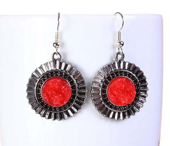 Antique silver red faux dusy dangle earrings - Faux Druzy earrings - Textured earrings (797) earrings