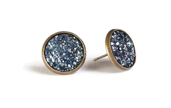 Blue textured stud earrings - Faux Druzy earrings - Textured earrings - Post earrings - Nickel free - lead free - cadmium free (830)