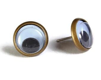 Black google eyes hypoallergenic stud earrings (496)