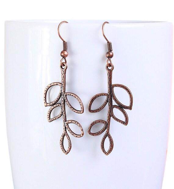 earrings - Antique copper leaf drop earrings dangle earrings (817)