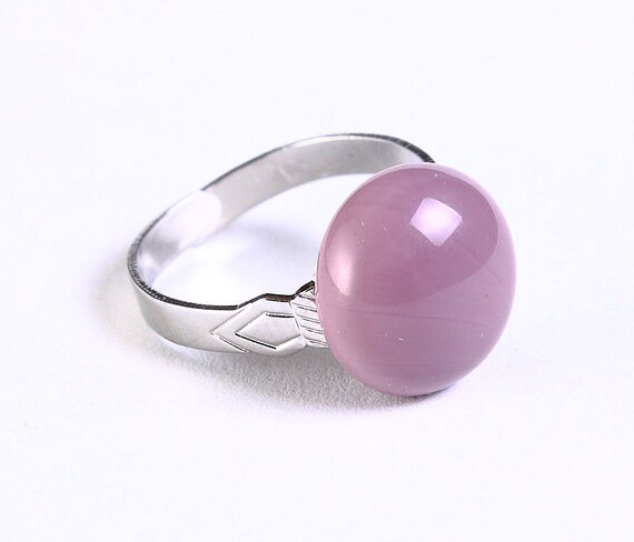 Lilac purple glass adjustable silver ring petite cocktail ring OOAK (683)