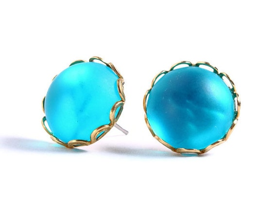 Sale Clearance 20% OFF - Matte frost aqua post earrings (407)