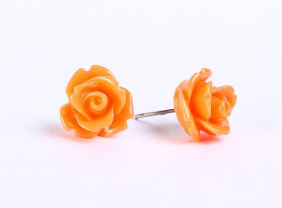 Pumpkin orange rosebud flower surgical steel hypoallergenic stud earrings READY to ship (452)