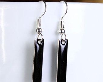 Jet black drop surgical steel hypoallergenic earrings READY to ship (251)