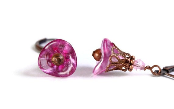 Hot pink trumpet bell flower and antique copper leverback earrings (282)