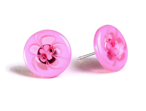Hot pink fuschia abstract flower button hypoallergenic stud earrings (752)