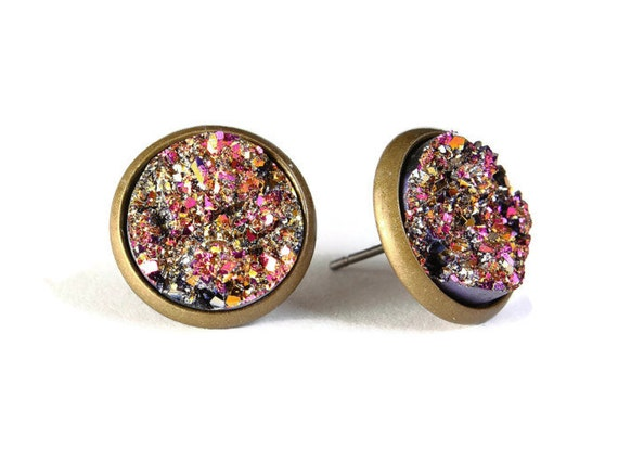 Gold and pink textured stud earrings - Faux Druzy earrings - Textured earrings - Lead free Nickel free earrings (771)