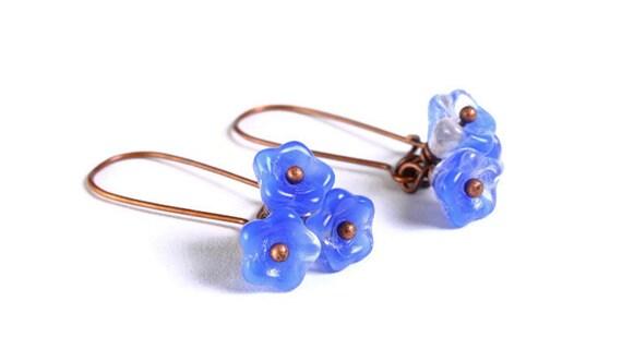 Handmade coral royal blue clear Czech bell flower floral dangle earrings (691)