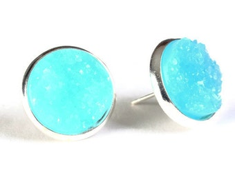Silver and blue textured stud earrings - Faux Druzy earrings - Post earrings - Nickel free earrings (806)