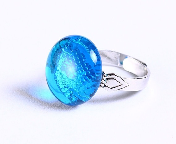 Petite cocktail ring caribbean blue glass adjustable silver ring OOAK (680)