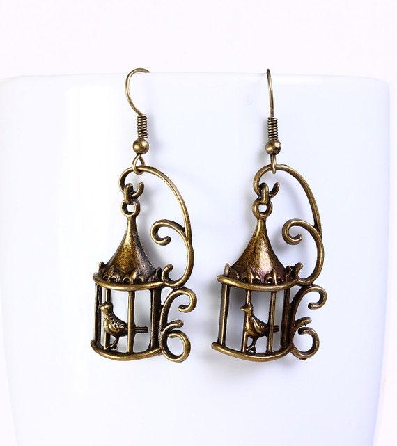 Antique brass bird in a cage drop dangle earrings (567)