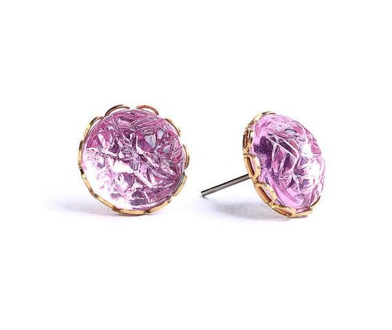 Light pink baroque jewel hypoallergenic surgical steel post earrings (444)