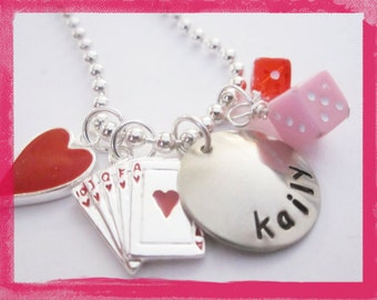 Hand Stamped Necklace -  Personalized Jewelry - GAME NIGHT #g602