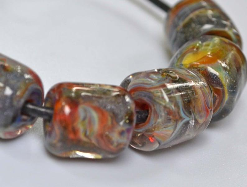 5 Baltic Cliffs Lampwork Boro Barrel Beads