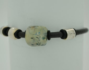 Boro Borosilicate Lampwork Leather Bracelet Magnetic Clasp # 32