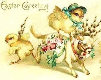 DIGITAL DOWNLOAD : Sweetest Vintage Victorian Easter Chicks with Cow Image ONLY