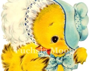 DIGITAL DOWNLOAD : Sweetest Vintage Baby Chick In a Bonnet Image