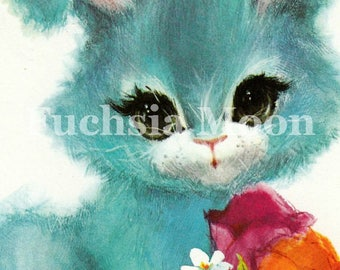 DIGITAL DOWNLOAD : Sweetest Vintage Mid Century 60s 70s Mod Baby Easter Bunny Image ONLY